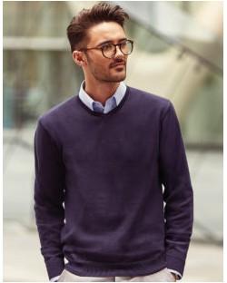 Sweter męski v-neck, Russell Europe